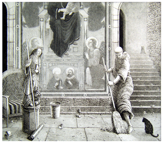St Francis Restores the Neglected Church 3 III  Sweeping  16x18  etching  (edition of 60)  $440 framed