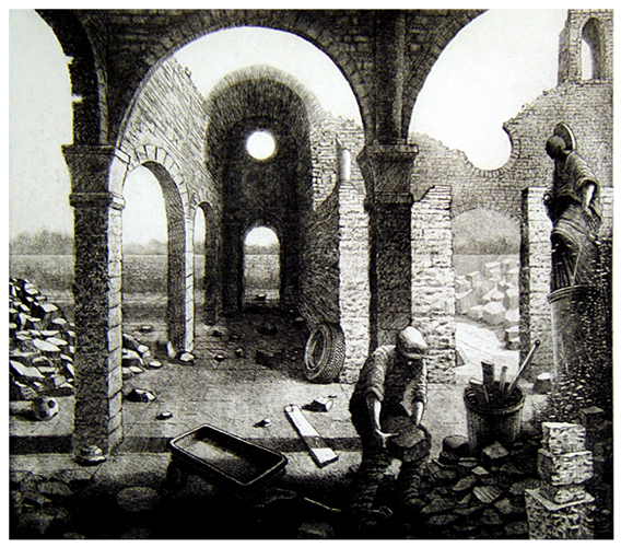 St Francis Restores the Neglected Church 5 V  Clearing Rubble  16x18  etching  (edition of 60)  $440 framed