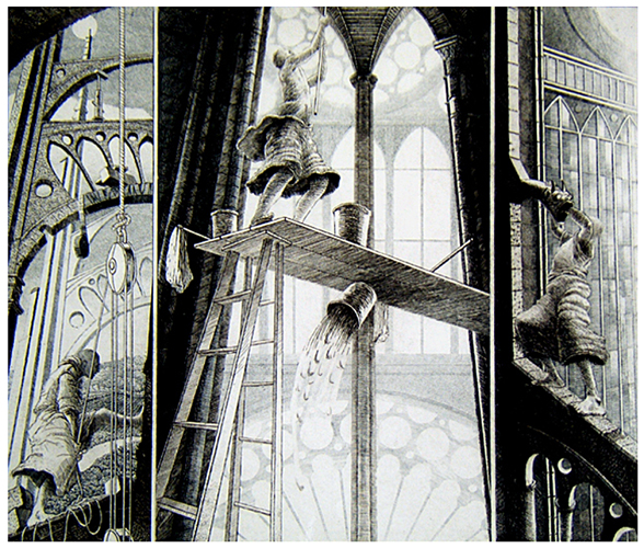 St Francis Restores the Neglected Church 7 VII   High Altitude Maintenance  16x18  etching  (edition of 60)  $440 framed