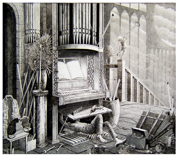 St Francis Restores the Neglected Church 9 IX  Pipe and Bellows Work  16x18  etching  (edition of 60)  $440 framed