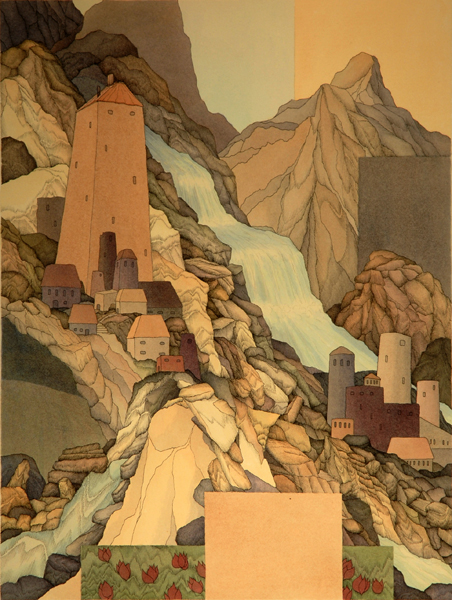 The Ancient Library of the Himalayas  24x18  ink and acrylic  $550 uf  $720 fr