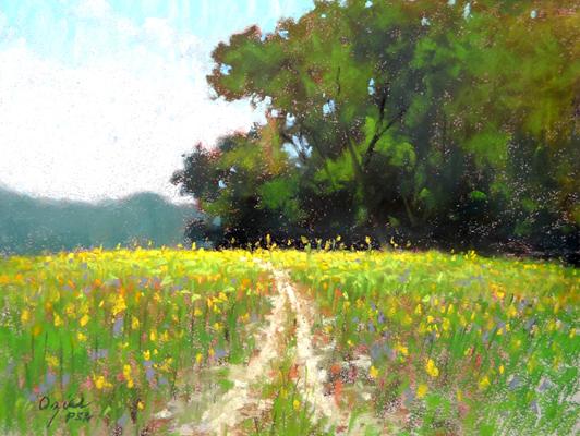 Flowered Hillside 9x12 pastel $375