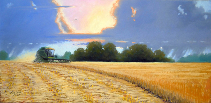Late Afternoon Harvest  12x24  pastel  $600
