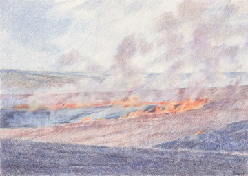 Day Burn, Flint Hills 5x7 Colored Pencil $300*