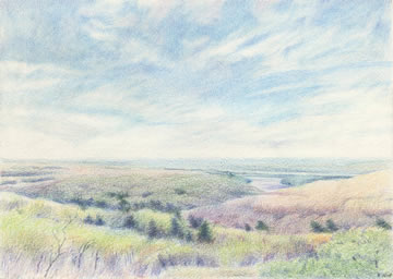 Flint Hills View II  5x7  Colored Pencil  $300*