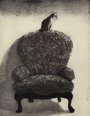 The Outside Cat  18x14  etching  $500 fr