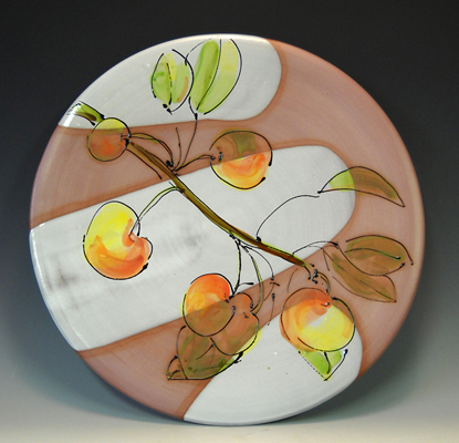 Platter with Cherries 15x15 majolica $175