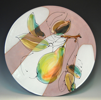 Platter with Pears  16x16  majolica  $175