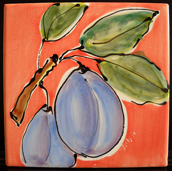 Tile with Plums  6x6 majolica on terra cotta  $30