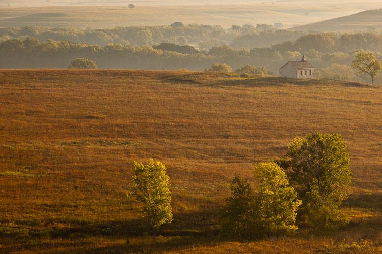 Fall Sunrise, Fox Creek Valley, Tallgrass Prairie-(FH46)