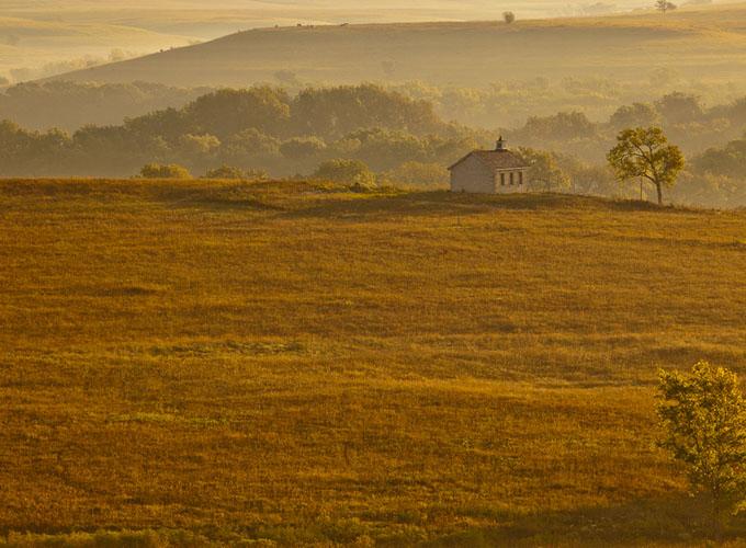 Fall Sunrise, Fox Creek Valley, Tallgrass Prairie-(FH49)