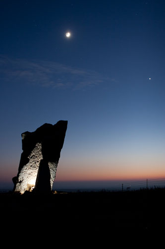 Teeter Rock, Sunset and Moon-(FH69)