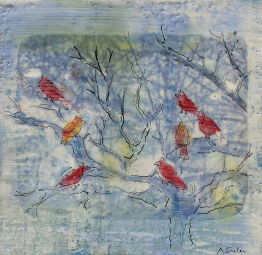 I Never For a Day Gave Up Listening  8x8  encaustic  $240  fr