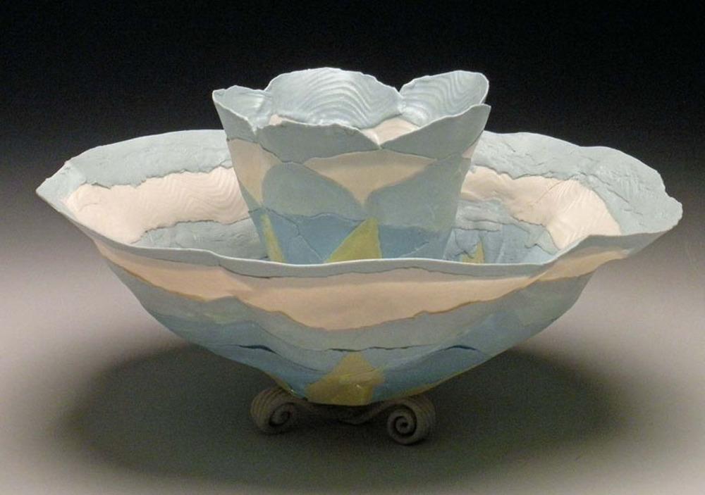Big Blue Combo Blooms 4x6x6 ceramic $140
