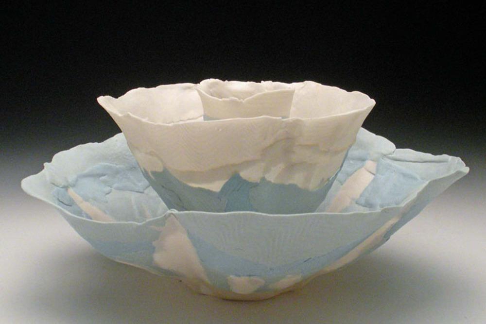 Blue White Nesting Blooms 5x11x11 ceramic $200