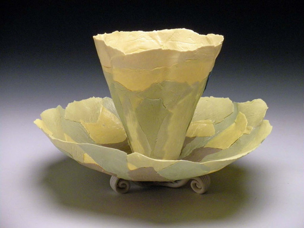 Chartreuse Combo Blooms  6x7x7  ceramic  $120