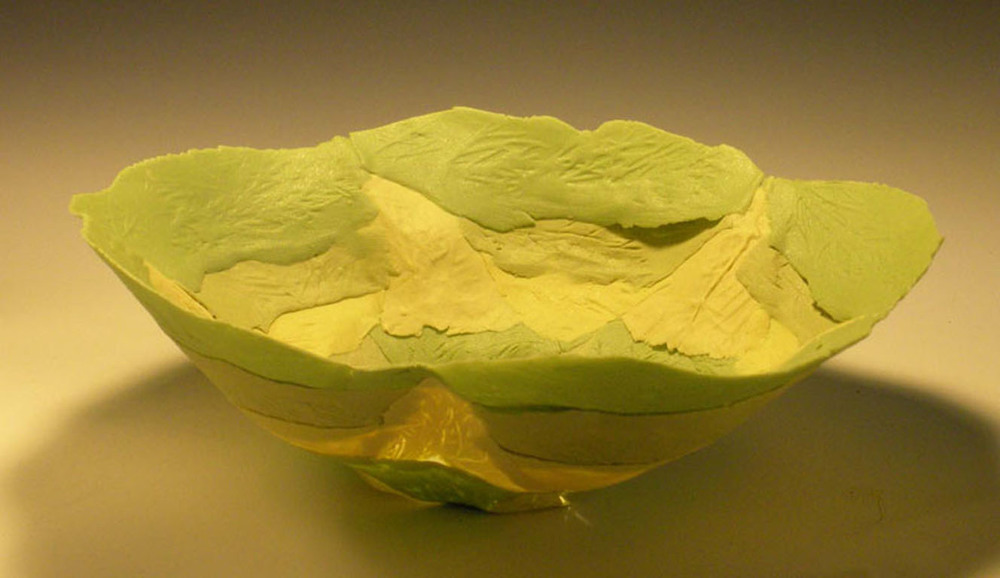 Green Yellow Solo Bloom Bowl  4x7x7  ceramic  $70