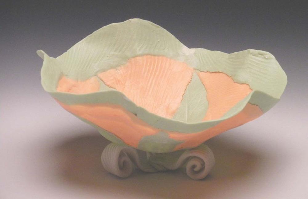 Orange Green Solo Open Bloom 4x5x5 ceramic $60