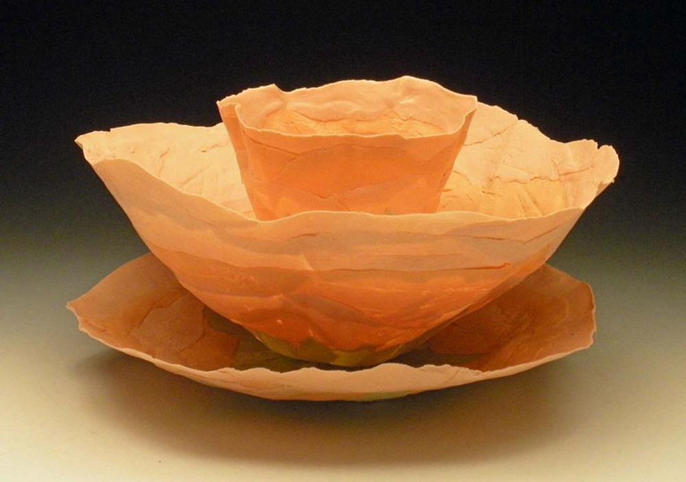 Orange Nesting Blooms 6x12x12 ceramic $200
