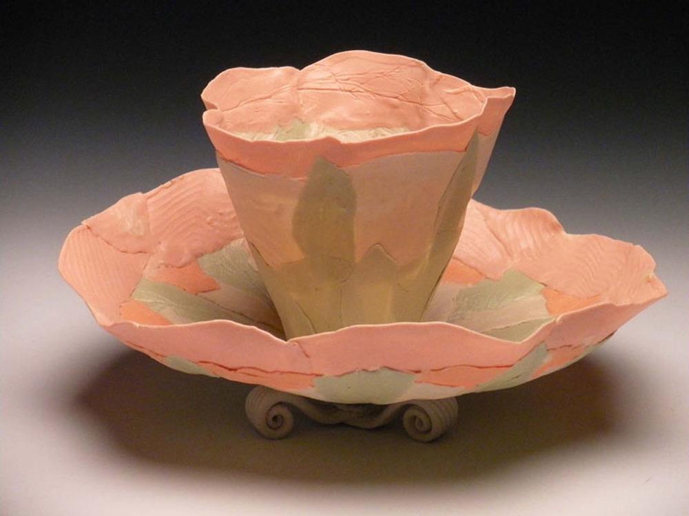 Peach Green Combo Blooms 5x7x7 ceramic $120