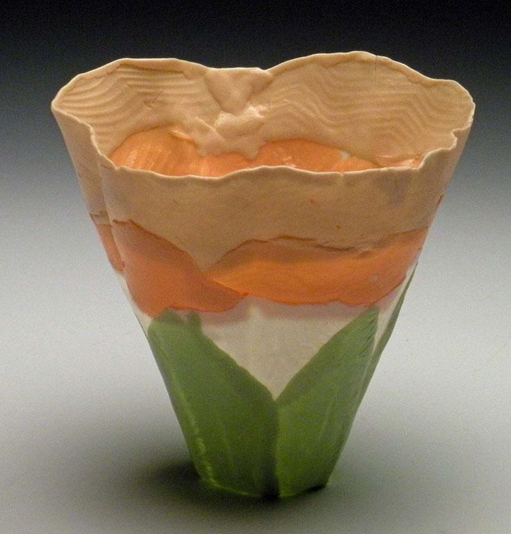 Peach Green Solo Bloom 4x3x3 ceramic $50