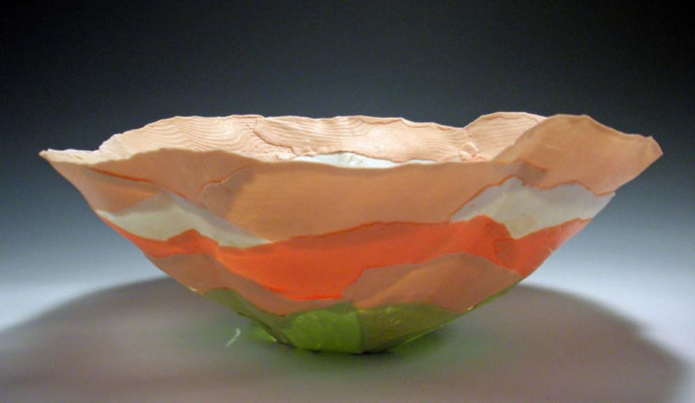 Peach Green Solo Bloom 4x8x8 ceramic $80