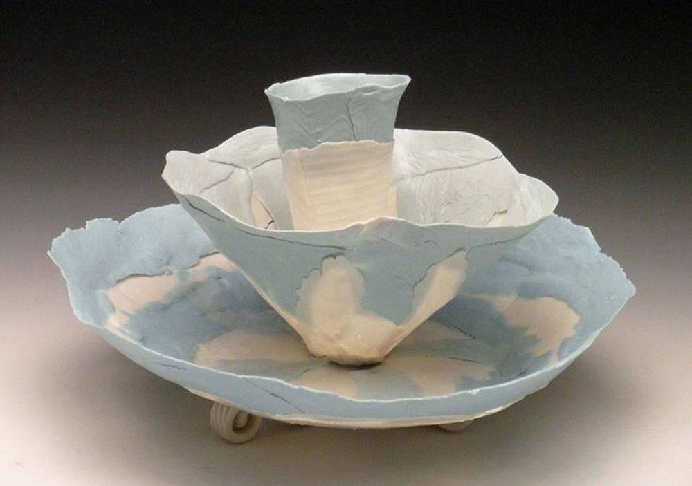 Small Blue White Nesting Blooms  4x7x7  ceramic  $170