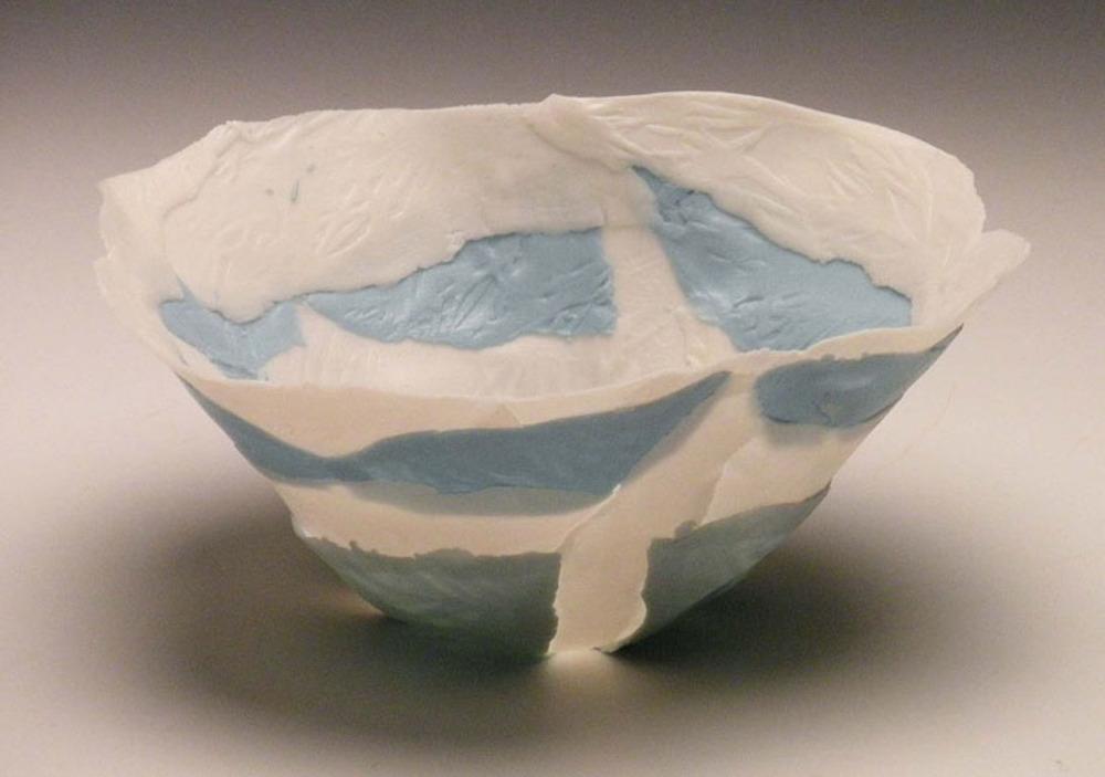 White Blue Solo Open Bloom 4x3x3 ceramic $50