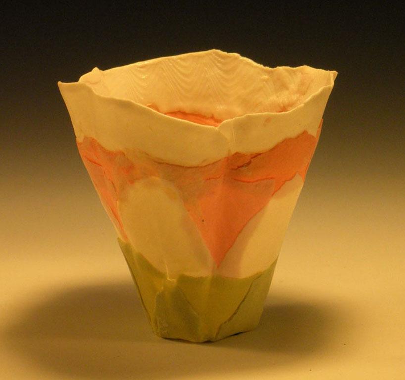 White Peach Green Solo Bloom 4x3x3 ceramic $50