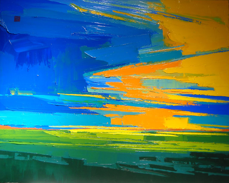 Allan Chow Fiery Sky in the Prairie 24x30 oc $3,100 uf