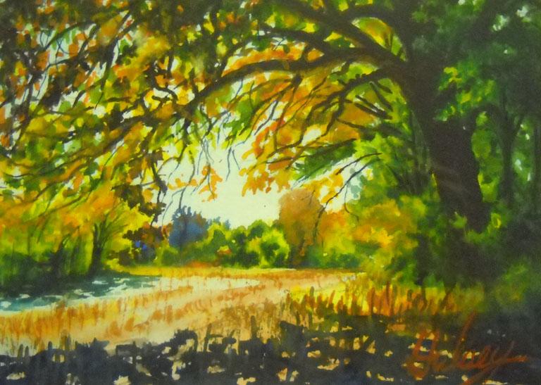John Hulsey The Old Oak Tree 5x7 wc $240 fr