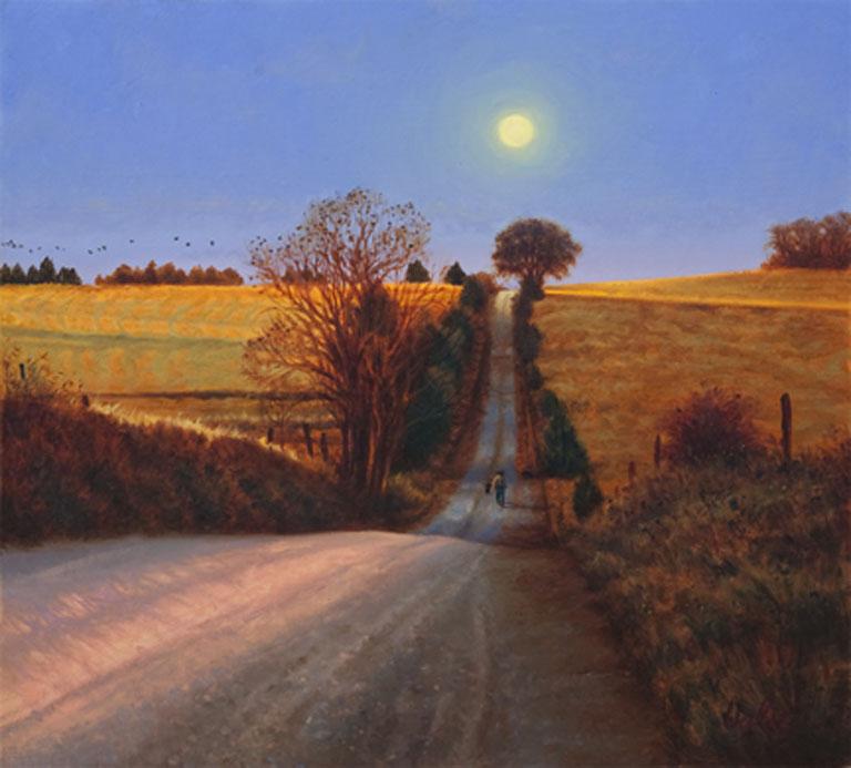 John Hulsey Moonrise Walk 22.5x24 oc $2,495 fr