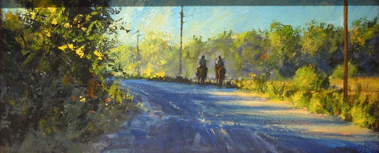 Joseph Loganbill Morning Ride in the Flint Hills oc 6x14 $650 fr