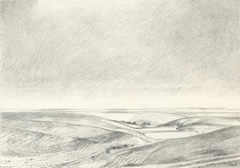 Barbara Waterman-Peters Snow Flint Hills 5x7 graphite $300 fr
