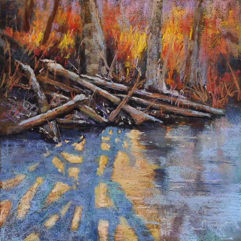 Cristine Sundquist Light on the Ice II 12x12 pastel $325
