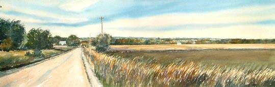 Summer Road 20x60 watercolor $1,200 uf