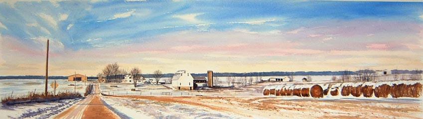 Winter Farm 14x48 watercolor $1,650 uf