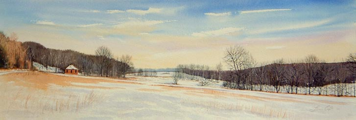 Witness to Winter 14x41 watercolor $1,425 uf