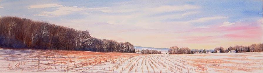 Sunrise Shadows  14x48 watercolor $1,650