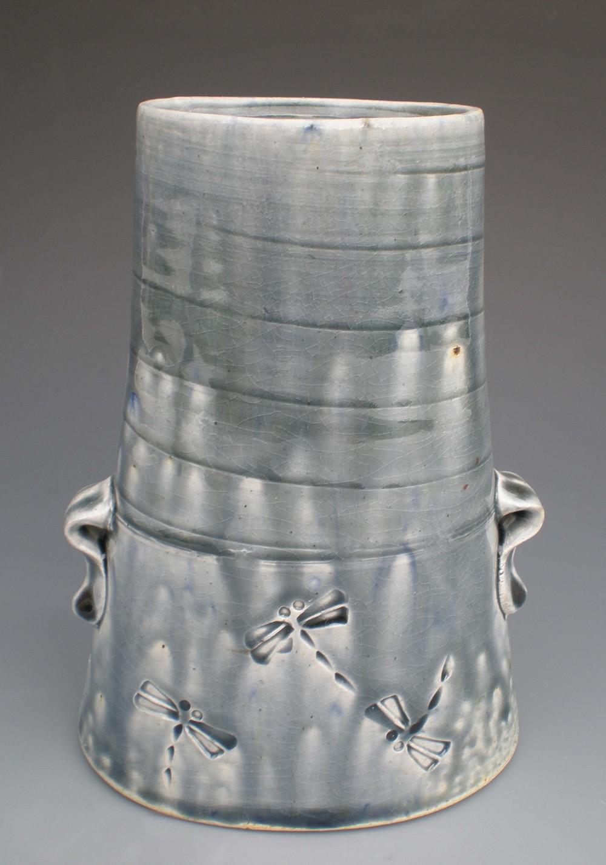 Oval Dragonfly Vase (CA11) ceramic $40