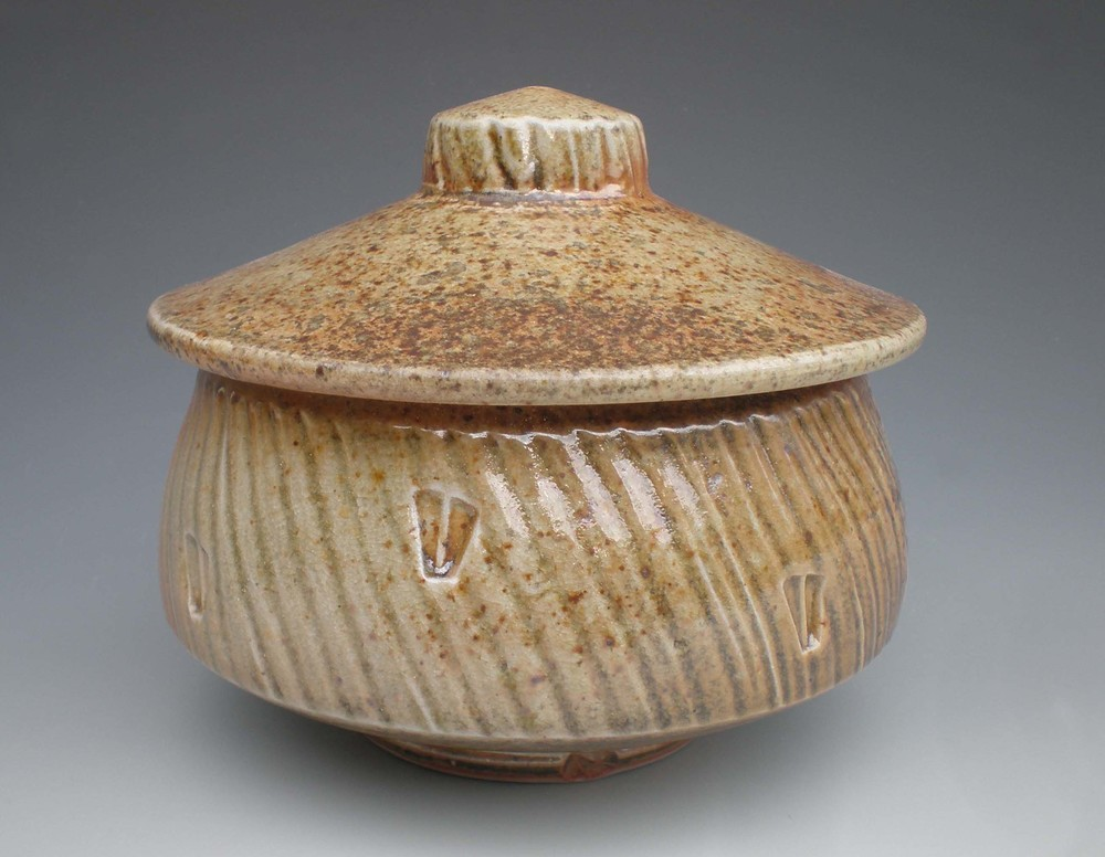 Stamped Shino Jar (CA25) ceramic $35