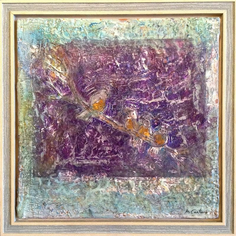 Beloved Children, Bards of Spring 8x8  encaustic  $240  fr