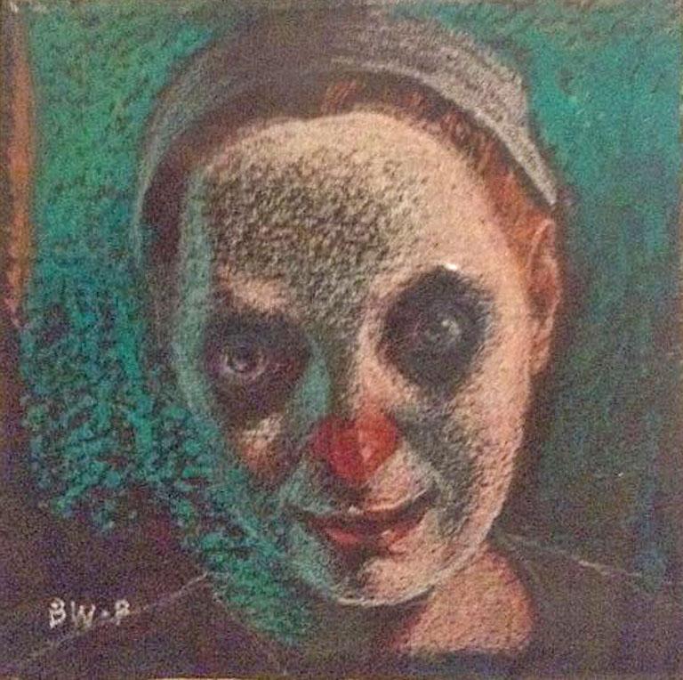MWS - Clowns IX 2.5x2.5 pencil on black paper $125 fr*