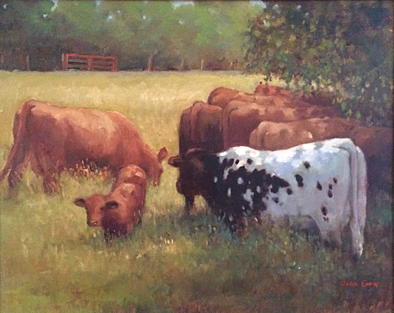Cows with Red Gate  16x20  op  $950  fr