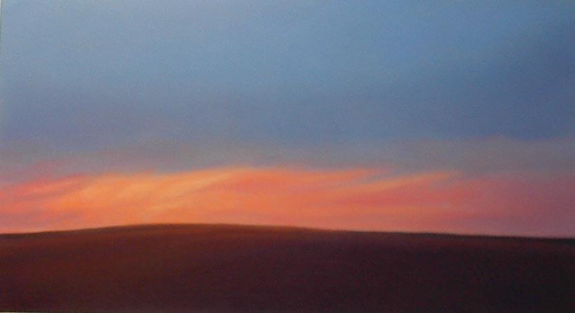 Prairie Dawn Looking West 16.5x30 pastel $800 fr