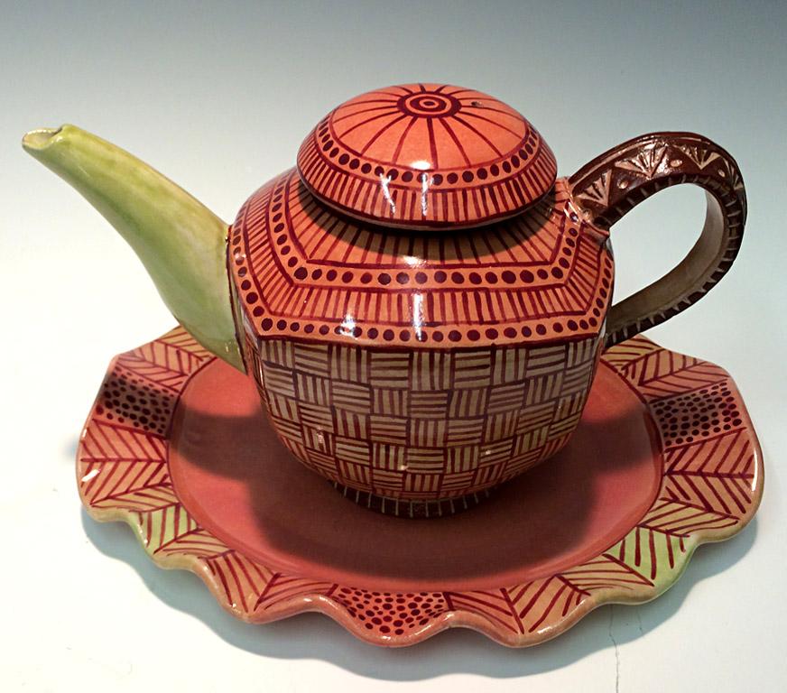 Crimson Teapot 6x10x6 ceramic $275