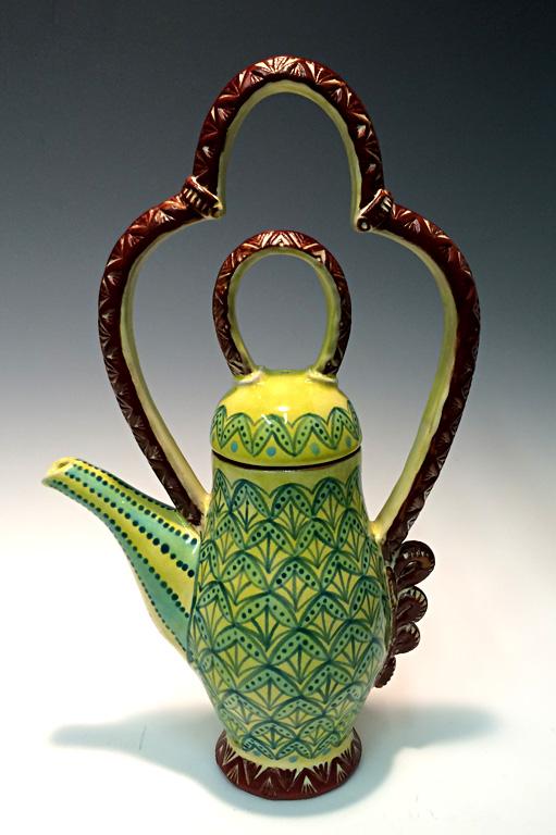 Green Teapot 13x7x3 ceramic $275