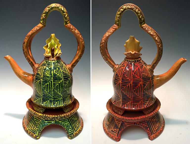 Yellow-Orange Teapot with Stand 13x7x3 ceramic $275