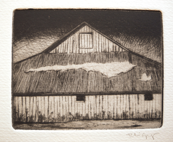 Barn in Winter  4x5  etching  $135 uf