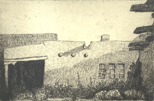 Blumenschein House  2.75x4.5  (edition of 50)  intaglio  $185 fr